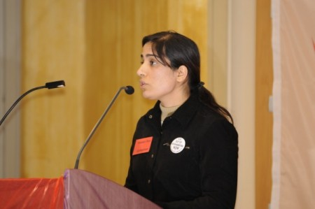 Malalai Joya addressing conference in Sweden