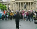 Speaking to crowd in Melbourne