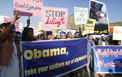 Afghans in Kabul protested against NATO.