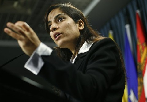 Malalai Joya, the youngest elected politician in Afghanistan, in Canada in 2009.