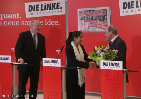 Joya in joint press conference with leaders of German The Left Party