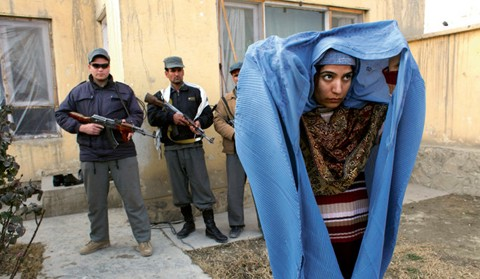Malalai Joya with her guards in Kabul