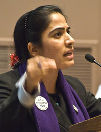 Malalai Joya speaks in the USA (Photo by Dylan Kelley)