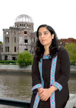 Malalai Joya visits the Atomic Bomb Dome in Hiroshima
