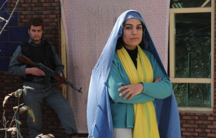 Malalai Joya with her guard in Kabul - Jan.2010